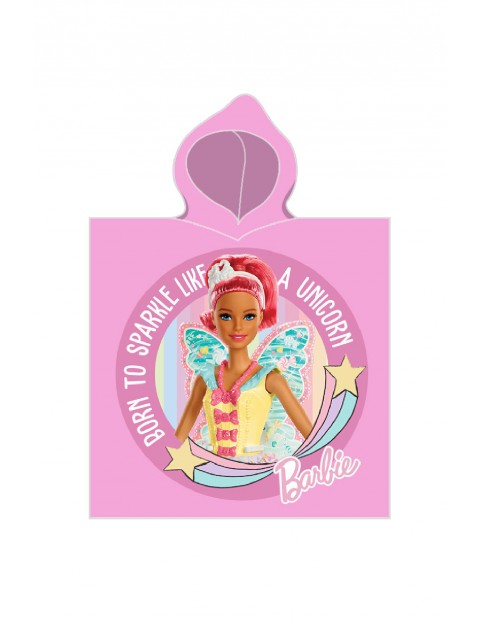 Poncho kąpielowe bawełniane Barbie 55x100cm