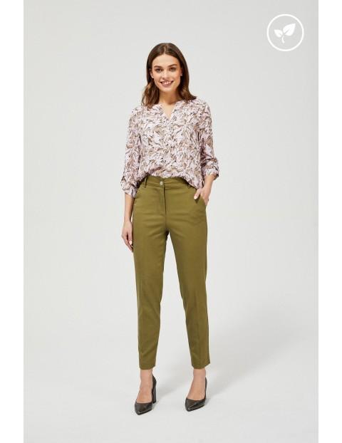 Spodnie damskie  typu chinos - oliwkowe