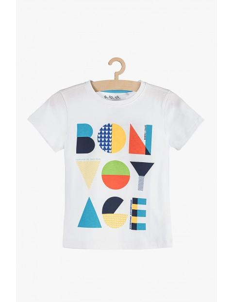T-shirt chłopięcy biały z kolorowym napisem