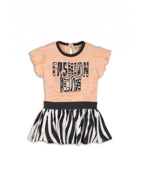 """Sukienka dziewczęca brzoskwiniowa z napisem """"Fashion Icon"""""""