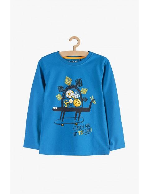 Bluzka chłopięca niebieska z deskorolką 100% bawełna