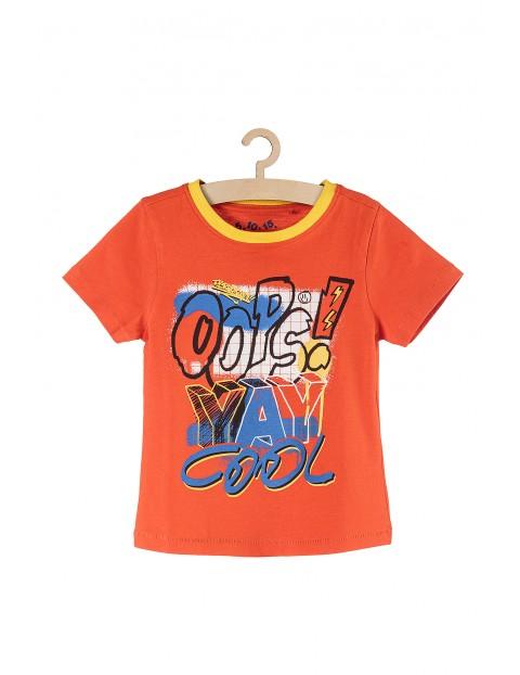 Koszulka chłopięca bawełniana pomarańczowa z kolorowymi nadrukami