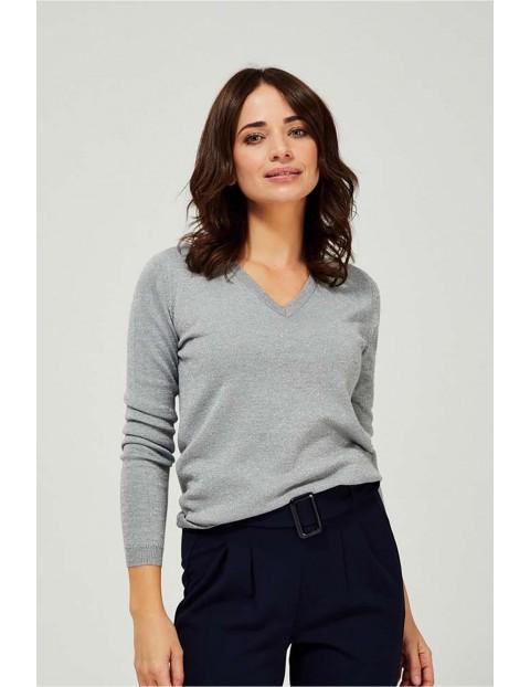 Sweter damski srebrny z metaliczną nitką