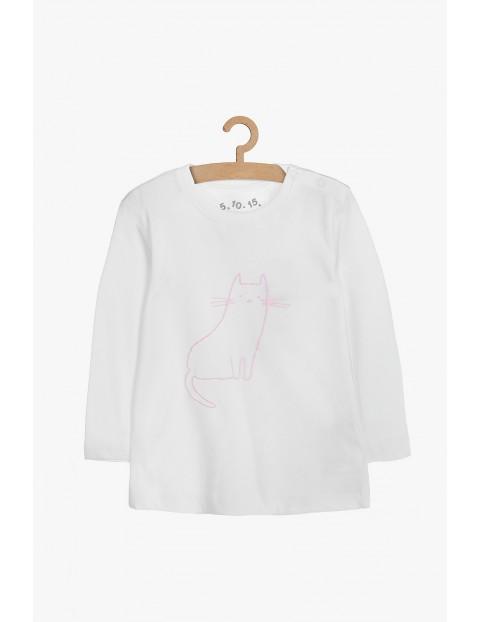 Biała bawełniana bluzka z różowym kotkiem