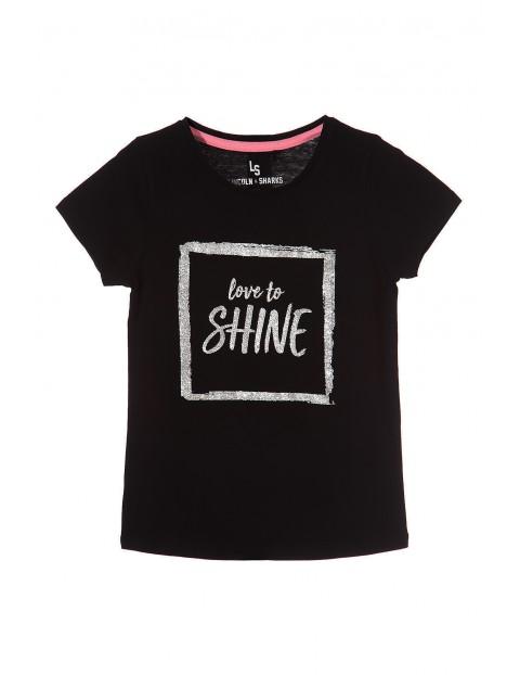 T-shirt dziewczęcy czarny z brokatowym nadrukiem