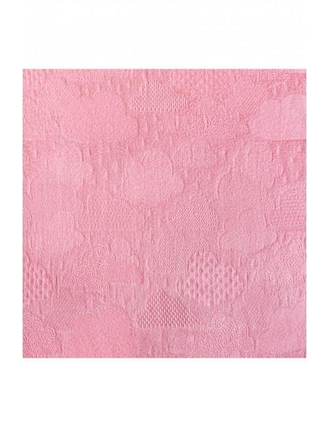 Pieluszka bambusowa 120x120 cm Chmurki -  różowa