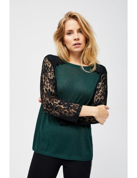 Sweter damski zielony z koronkowym rękawem- zielony