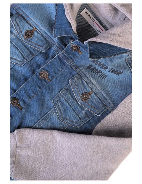 Kurtka chłopięca jeansowa z kapturem- niebieska
