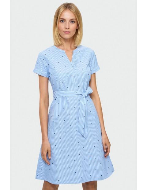 Sukienka damska niebieska z wiązaniem w pasie