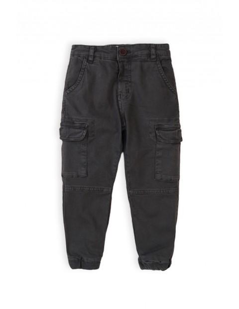 Spodnie chłopięce z kieszeniami - czarne bojówki