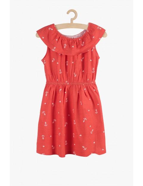Sukienka czerwona w kotwice- 100%bawełna