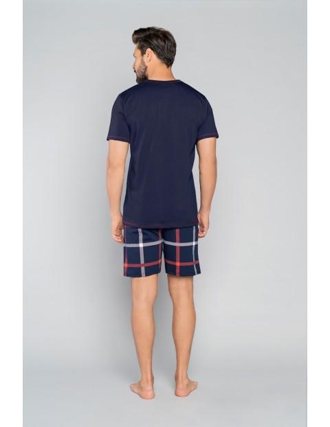 Bawełniane spodnie męskie w kratkę - granatowe