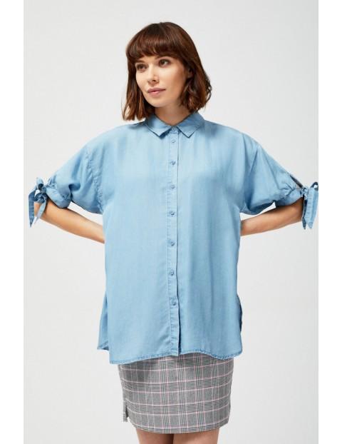 Koszula damska z marszczonymi rękawami niebieska - lyocell