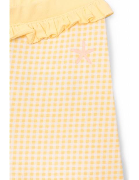 Spodnie dziewczęce sportowe z falbanką - żółte w kratkę