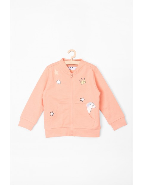 Bluza niemowlęca różowa rozpinana z jednorożcem