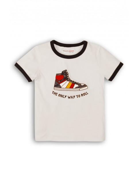 T-shirt chłopięcy biały z nadrukiem