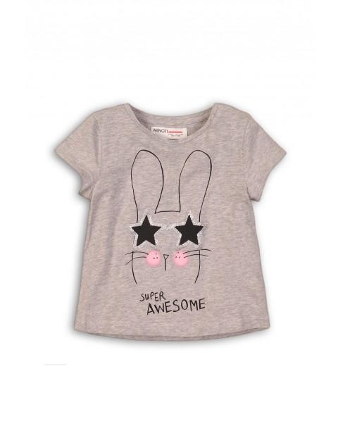 Szary t-shirt z królikiem dla dziewczynki