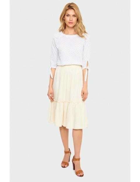 Bawełniana biała  bluzka z okrągłym dekoltem z wiązaniem przy rękawie