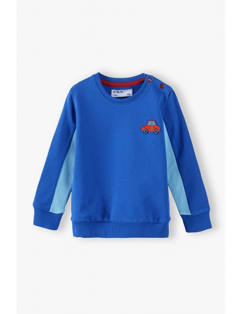 Bawełniana bluza niemowlęca z lampasami i ozdobną naszywką - niebieska