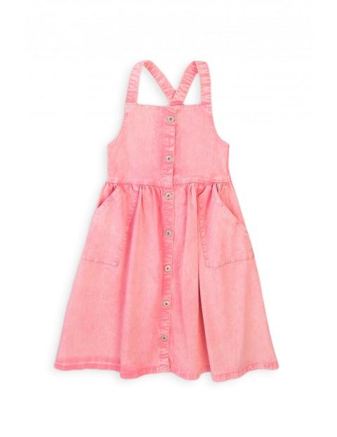 Sukienka dziewczęca ogrodniczka- różowa
