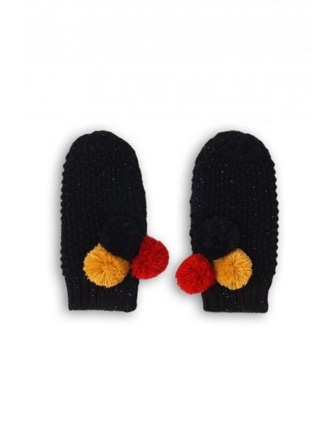 Rękawiczki dziewczęce granatowe z pomponami