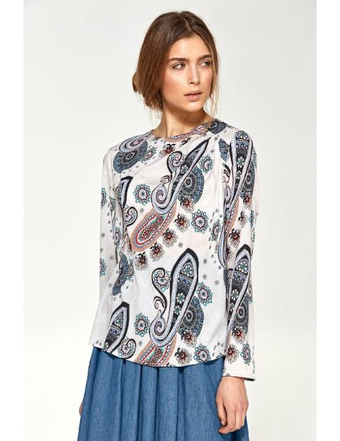 Bluzka damska z asymetrycznymi draperiami