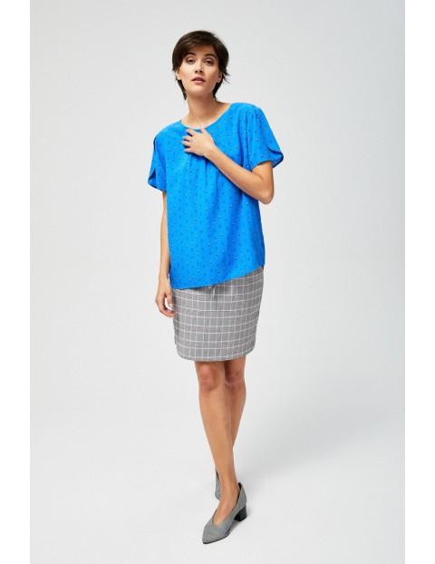 Bluzka koszulowa we wzory niebieska
