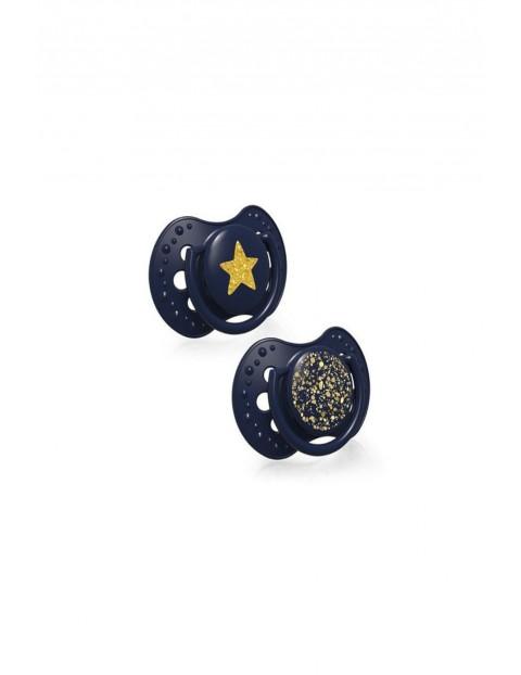 LOVI Smoczek silikonowy dynamiczny Stardust -niebieski 6-18m -2 szt