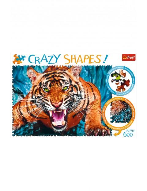 Puzzle  Crazy Shapes - Oko w oko z tygrysem -  600 elementów