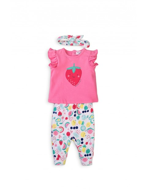 Bawełniany komplet niemowlęcy Fruit - opaska t-shirt i spodenki