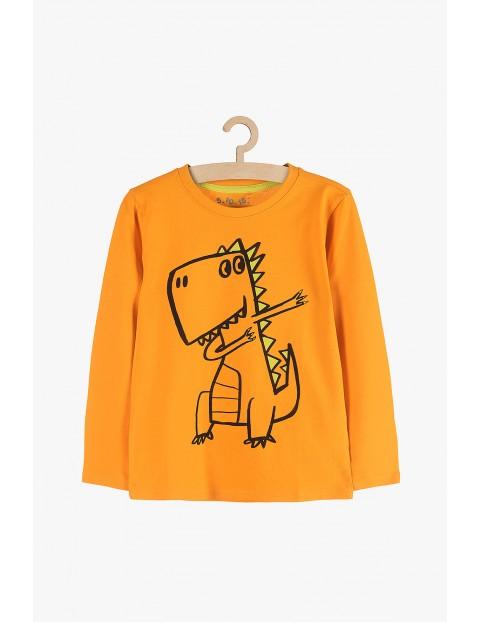 Bluzka chłopięca z dinozaurem- pomarańczowa