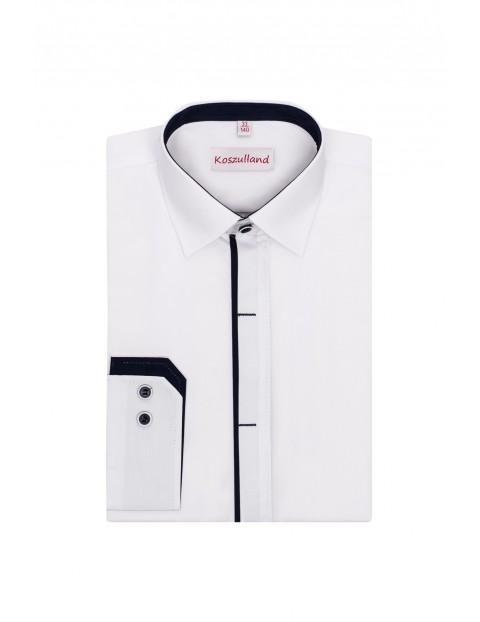 Koszula biała z krytą plisą- długi rękaw