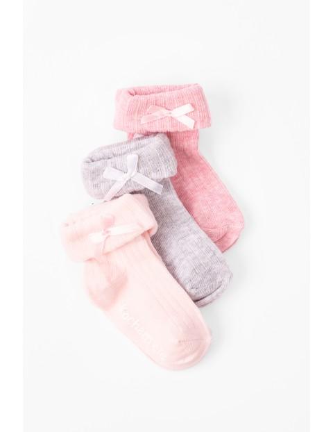 Skarpetki niemowlęce bezuciskowe 3pak różowe