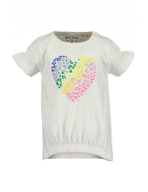 T-shirt dziewczęcy z kolorowym sercem