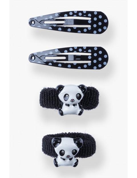 Spinki i gumki do włosów- Panda