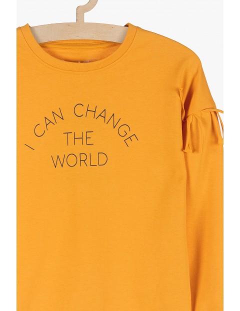 Bluza dresowa dla dziewczynki- frędzle przy rękawach