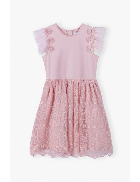 Sukienka na specjalne okazje- różowa z tiulowmi rękawami