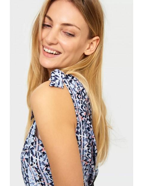Wiskozowa bluzka z ozdobnymi wiązaniami na ramionach