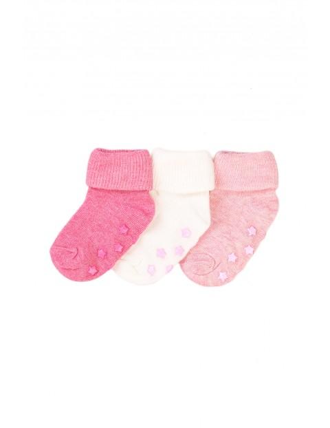 Skarpety antypoślizgowe niemowlęce- różowe 3-pak