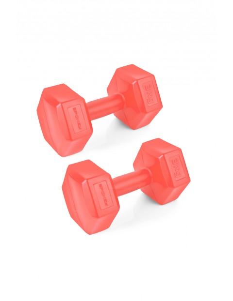 Zestaw hantli sześciokątnych 2x3 kg - czerwony