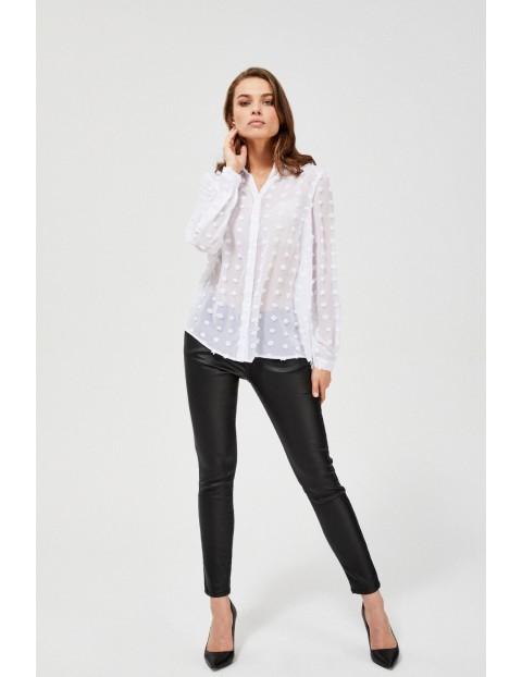 Biała koszula damska w kropki 3d