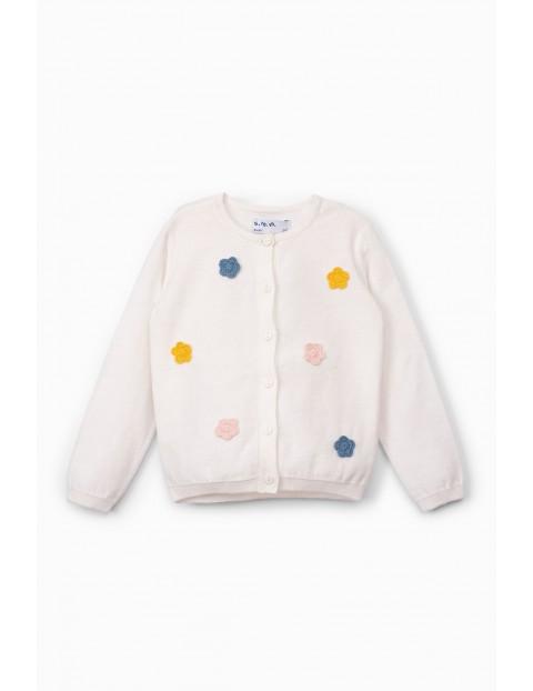 Sweter niemowlęcy  w kwiatki - ecru