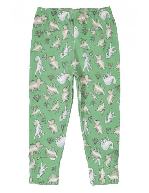Spodnie niemowlęce dresowe- zielone w dinozaury