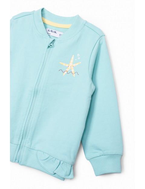 Dresowa bluza dla niemowlaka- niebieska z ozdobną falbanką