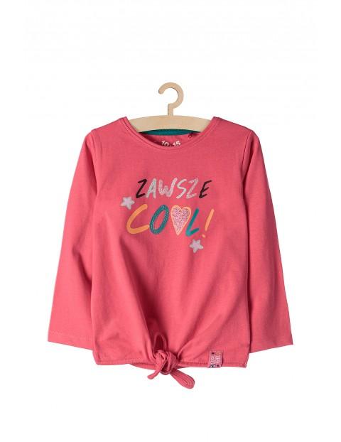 Bluzka dziewczęca różowa z napisem- Zawsze cool