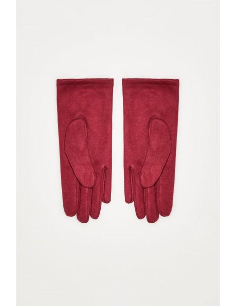 Rękawiczki z aplikacjami - bordowe