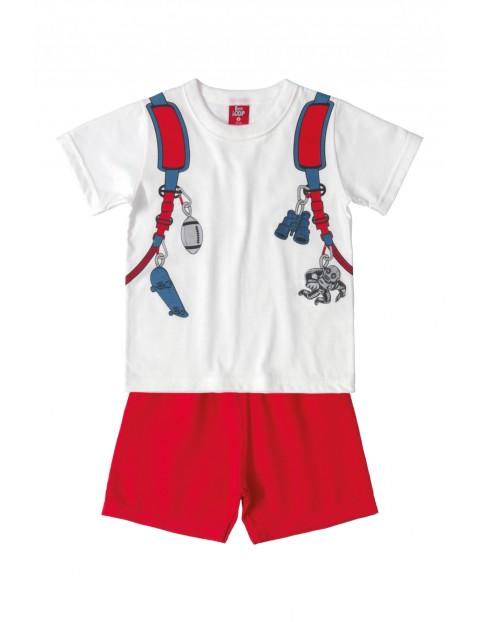 Komplet chłopięcy - t-shirt i czerwone szort