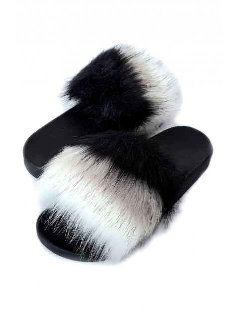 Klapki damskie z futerkiem czarno-białe