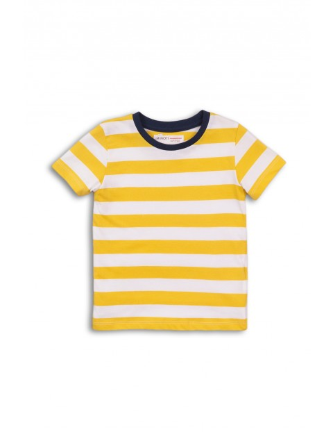 T-Shirt chłopięcy w paski biało-żółty