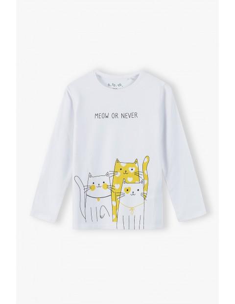 Bluzka dziewczęca na długi rękaw Meow or never - biała